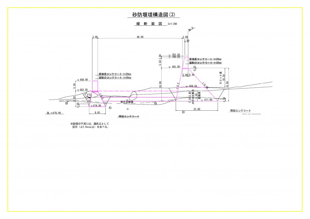 砂防堰堤構造図(3)